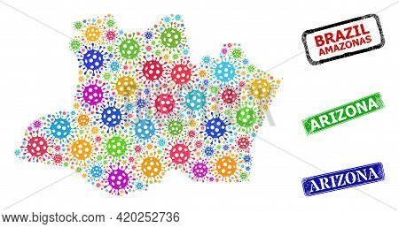 Vector Virus Collage Amazonas State Map, And Grunge Arizona Stamps. Vector Multi-colored Amazonas St