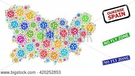 Vector Bacterium Collage Ourense Province Map, And Grunge No Fly Zone Seals. Vector Multi-colored Ou