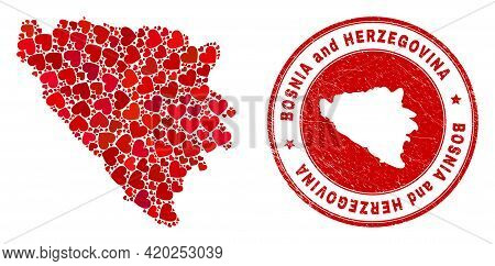 Mosaic Bosnia And Herzegovina Map Designed With Red Love Hearts, And Unclean Seal. Vector Lovely Rou
