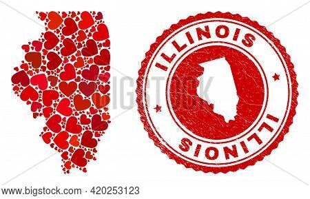 Mosaic Illinois State Map Created With Red Love Hearts, And Rubber Seal Stamp. Vector Lovely Round R