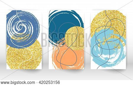Abstract Cover Template. Geometric Shapes And Lines. Watercolor Painting Texture Brochure Design. Mi