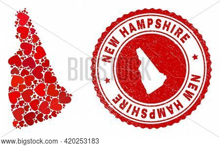 Collage New Hampshire State Map Composed With Red Love Hearts, And Scratched Seal. Vector Lovely Rou