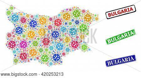 Vector Bacterium Mosaic Bulgaria Map, And Grunge Bulgaria Seals. Vector Multi-colored Bulgaria Map M