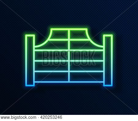 Glowing Neon Line Old Western Swinging Saloon Door Icon Isolated On Blue Background. Vector
