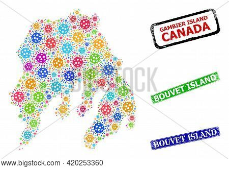 Vector Viral Collage Gambier Island Map, And Grunge Bouvet Island Seal Stamps. Vector Vibrant Gambie