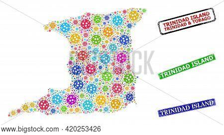 Vector Contagious Mosaic Trinidad Island Map, And Grunge Trinidad Island Badges. Vector Multi-colore