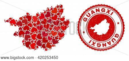 Collage Guangxi Province Map Designed With Red Love Hearts, And Scratched Seal Stamp. Vector Lovely