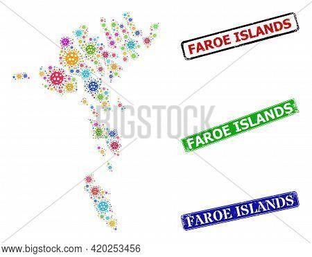 Vector Covid-2019 Mosaic Faroe Islands Map, And Grunge Faroe Islands Seal Stamps. Vector Multi-color