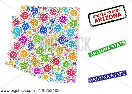 Vector Covid-2019 Collage Arizona State Map, And Grunge Arizona State Seals. Vector Colorful Arizona