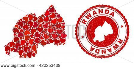 Mosaic Rwanda Map Formed From Red Love Hearts, And Grunge Seal Stamp. Vector Lovely Round Red Rubber