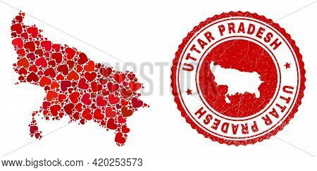 Collage Uttar Pradesh State Map Created With Red Love Hearts, And Unclean Badge. Vector Lovely Round