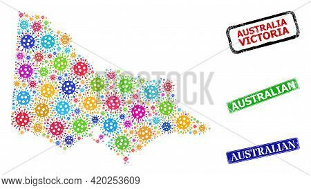 Vector Virus Collage Australian Victoria Map, And Grunge Australian Seal Stamps. Vector Colored Aust