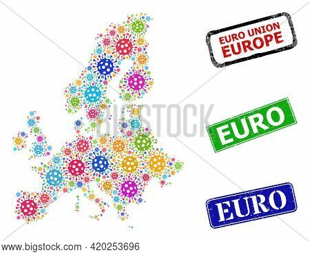Vector Covid Collage Euro Union Map, And Grunge Euro Badges. Vector Colorful Euro Union Map Collage,