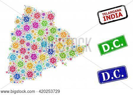 Vector Virus Mosaic Telangana State Map, And Grunge D.c. Stamps. Vector Multi-colored Telangana Stat