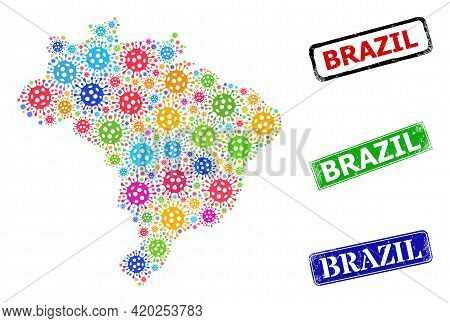 Vector Bacilla Collage Brazil Map, And Grunge Brazil Stamps. Vector Multi-colored Brazil Map Collage