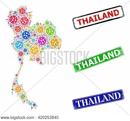 Vector Viral Collage Thailand Map, And Grunge Thailand Stamps. Vector Colored Thailand Map Mosaic, A