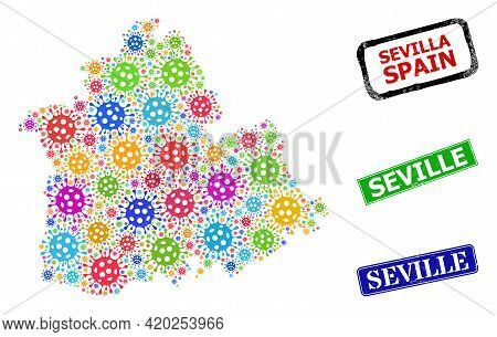 Vector Virus Mosaic Sevilla Province Map, And Grunge Seville Seal Stamps. Vector Colored Sevilla Pro