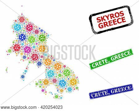 Vector Covid-2019 Mosaic Skyros Island Map, And Grunge Crete, Greece Seal Stamps. Vector Multi-color