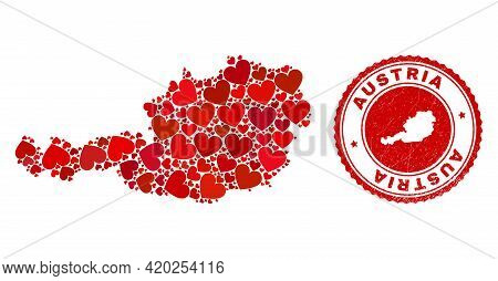 Mosaic Austria Map Created With Red Love Hearts, And Grunge Seal Stamp. Vector Lovely Round Red Rubb