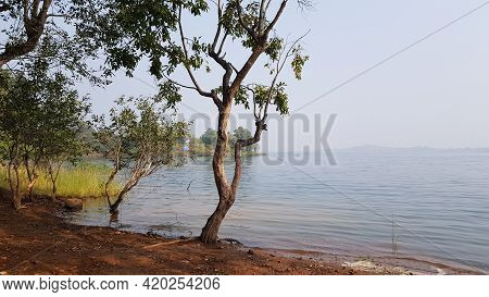 Pavana Lake Side View On A Winter Noon. Pavana Lake Is Located In Lonavala, A Hillstation Near Mahar