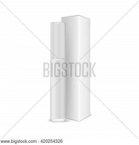 Vector 3d Realistic Closed White Lip Gloss, Lipstick Package, Carton Packing Set Isolated On White.