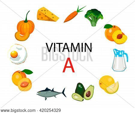 A Set Of Sources Of Vitamin A. Fruits, Vegetables, Fish, Milk And Eggs Are Enriched With Vitamin A.