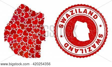 Collage Swaziland Map Formed With Red Love Hearts, And Unclean Badge. Vector Lovely Round Red Rubber
