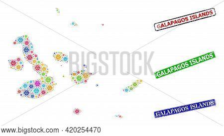 Vector Contagious Collage Galapagos Islands Map, And Grunge Galapagos Islands Seal Stamps. Vector Co