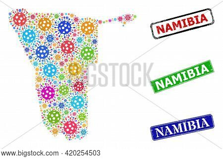 Vector Infection Collage Namibia Map, And Grunge Namibia Seal Stamps. Vector Multi-colored Namibia M