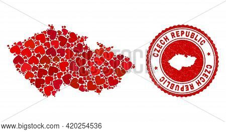 Collage Czech Republic Map Created With Red Love Hearts, And Scratched Stamp. Vector Lovely Round Re