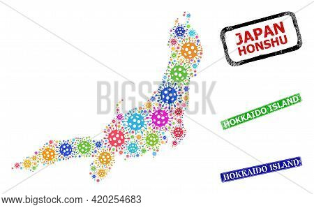 Vector Cell Collage Honshu Island Map, And Grunge Hokkaido Island Stamps. Vector Multi-colored Honsh