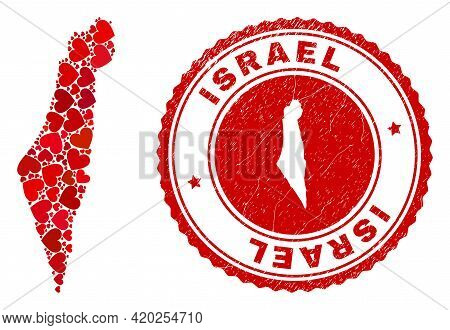 Mosaic Israel Map Created From Red Love Hearts, And Rubber Badge. Vector Lovely Round Red Rubber Bad