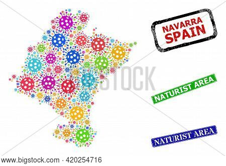 Vector Viral Mosaic Navarra Province Map, And Grunge Naturist Area Seal Stamps. Vector Colored Navar