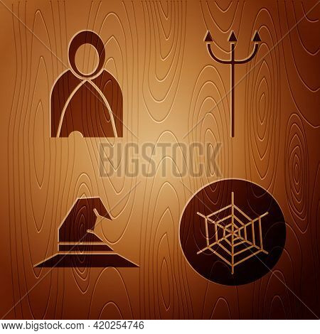 Set Spider Web, Mantle, Cloak, Cape, Witch Hat And Neptune Trident On Wooden Background. Vector