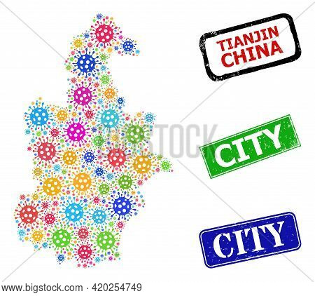 Vector Covid-2019 Mosaic Tianjin City Map, And Grunge City Seals. Vector Colorful Tianjin City Map M