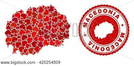 Mosaic Macedonia Map Designed With Red Love Hearts, And Rubber Stamp. Vector Lovely Round Red Rubber