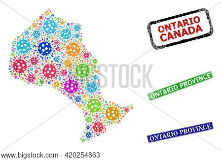 Vector Covid Collage Ontario Province Map, And Grunge Ontario Province Stamps. Vector Multi-colored