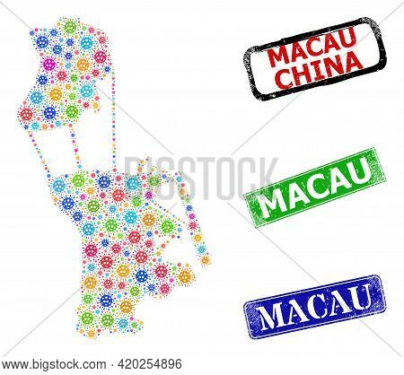 Vector Infection Collage Macau Map, And Grunge Macau Stamps. Vector Multi-colored Macau Map Collage,