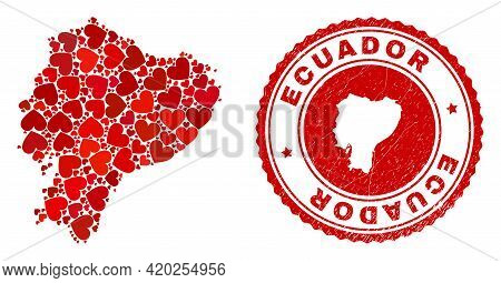Collage Ecuador Map Formed From Red Love Hearts, And Rubber Badge. Vector Lovely Round Red Rubber Ba
