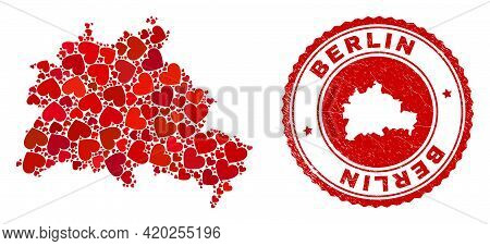 Mosaic Berlin City Map Designed With Red Love Hearts, And Rubber Stamp. Vector Lovely Round Red Rubb