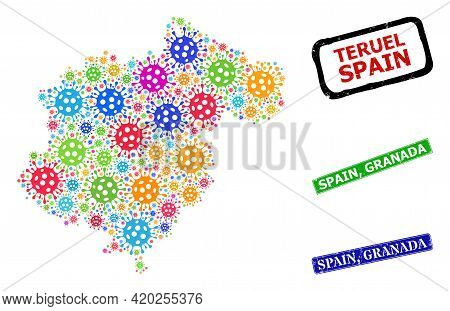 Vector Cell Mosaic Teruel Province Map, And Grunge Spain, Granada Badges. Vector Colored Teruel Prov