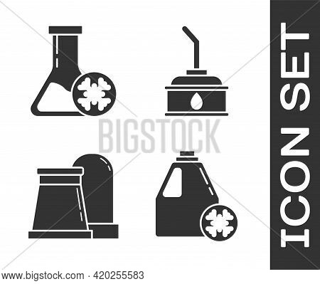 Set Antifreeze Canister, Antifreeze Test Tube, Oil And Gas Industrial Factory Building And Canister