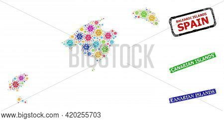 Vector Cell Mosaic Balearic Islands Map, And Grunge Canarian Islands Seal Stamps. Vector Colorful Ba