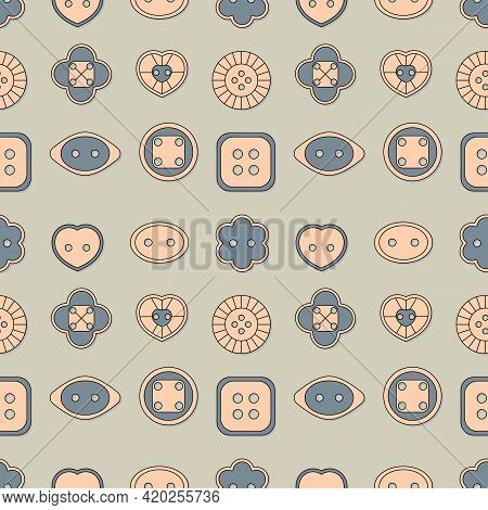 Vintage Seamless Pattern. Buttons For Sewing . Vector Background For Textiles, Wallpaper, Packaging,