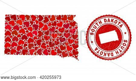 Mosaic South Dakota State Map Formed With Red Love Hearts, And Grunge Seal Stamp. Vector Lovely Roun