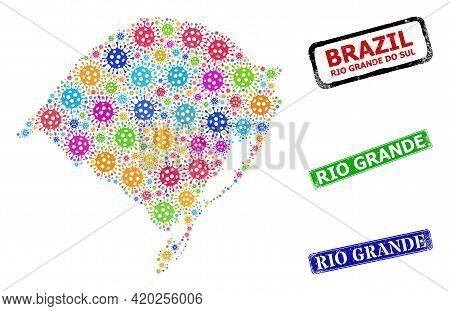 Vector Coronavirus Collage Rio Grande Do Sul State Map, And Grunge Rio Grande Seals. Vector Colorful