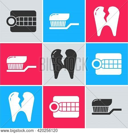 Set Dentures Model, Toothbrush With Toothpaste And Broken Tooth Icon. Vector