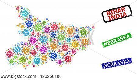 Vector Coronavirus Collage Bihar State Map, And Grunge Nebraska Seal Stamps. Vector Colorful Bihar S