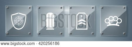 Set Brass Knuckles, Chevron, Cartridges And Target Sport. Square Glass Panels. Vector