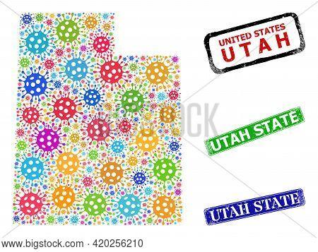 Vector Virulent Mosaic Utah State Map, And Grunge Utah State Stamps. Vector Colorful Utah State Map